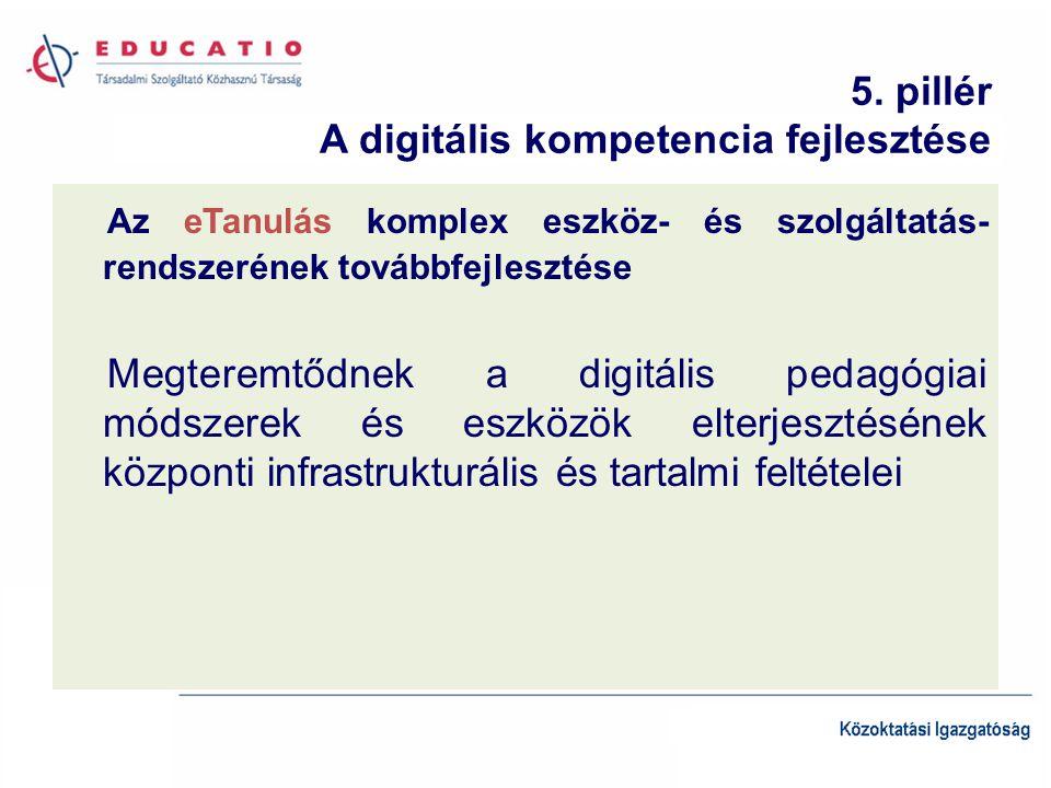5. pillér A digitális kompetencia fejlesztése Az eTanulás komplex eszköz- és szolgáltatás- rendszerének továbbfejlesztése Megteremtődnek a digitális p