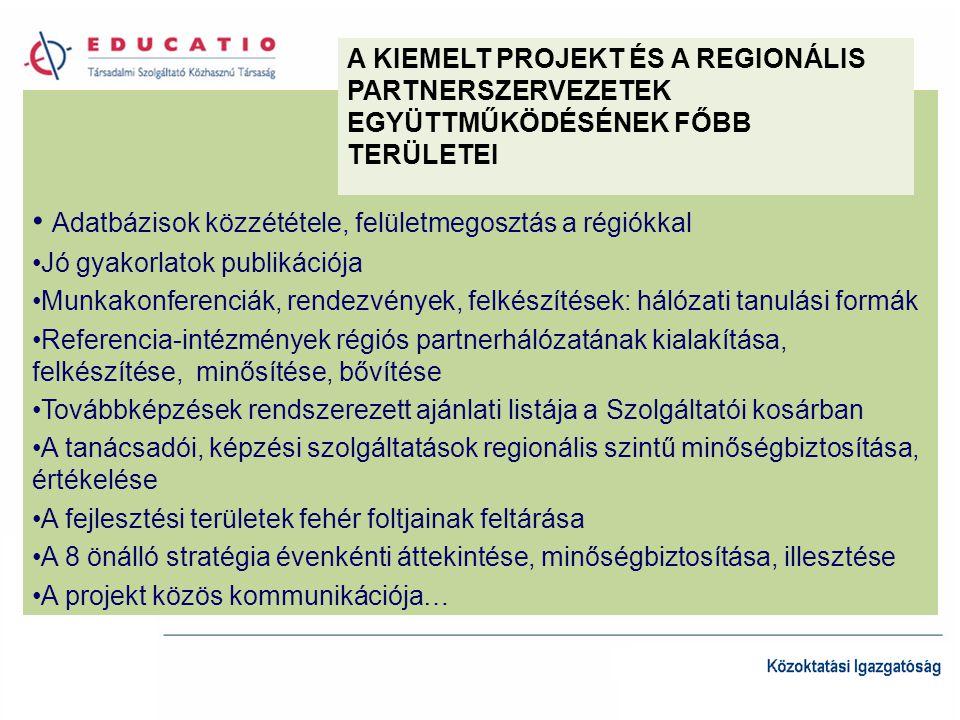 Adatbázisok közzététele, felületmegosztás a régiókkal Jó gyakorlatok publikációja Munkakonferenciák, rendezvények, felkészítések: hálózati tanulási formák Referencia-intézmények régiós partnerhálózatának kialakítása, felkészítése, minősítése, bővítése Továbbképzések rendszerezett ajánlati listája a Szolgáltatói kosárban A tanácsadói, képzési szolgáltatások regionális szintű minőségbiztosítása, értékelése A fejlesztési területek fehér foltjainak feltárása A 8 önálló stratégia évenkénti áttekintése, minőségbiztosítása, illesztése A projekt közös kommunikációja… A KIEMELT PROJEKT ÉS A REGIONÁLIS PARTNERSZERVEZETEK EGYÜTTMŰKÖDÉSÉNEK FŐBB TERÜLETEI