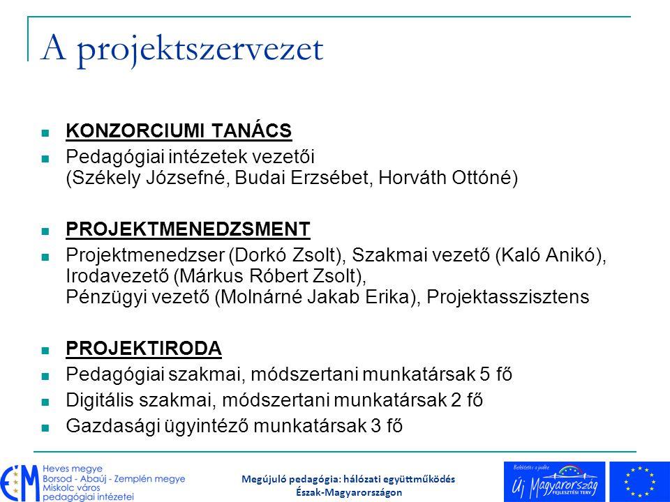 A projektszervezet KONZORCIUMI TANÁCS Pedagógiai intézetek vezetői (Székely Józsefné, Budai Erzsébet, Horváth Ottóné) PROJEKTMENEDZSMENT Projektmenedz
