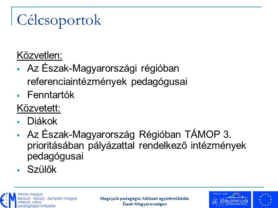 Célcsoportok Közvetlen:  Az Észak-Magyarországi régióban referenciaintézmények pedagógusai  Fenntartók Közvetett:  Diákok  Az Észak-Magyarország R
