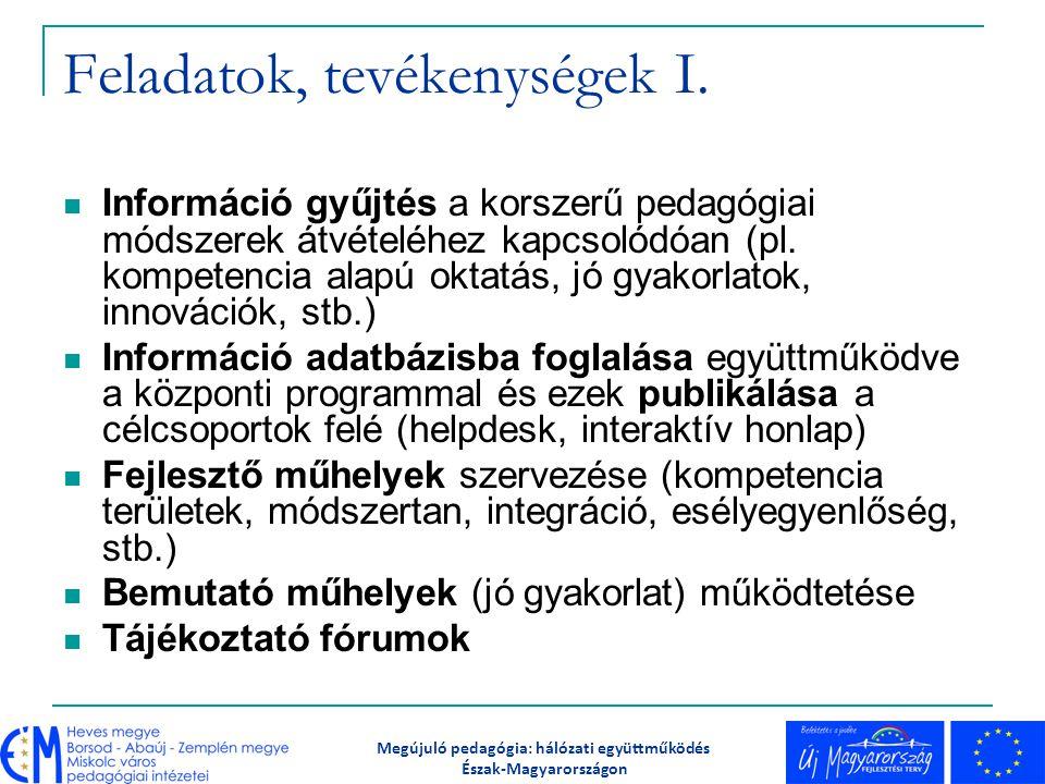 Feladatok, tevékenységek I. Információ gyűjtés a korszerű pedagógiai módszerek átvételéhez kapcsolódóan (pl. kompetencia alapú oktatás, jó gyakorlatok