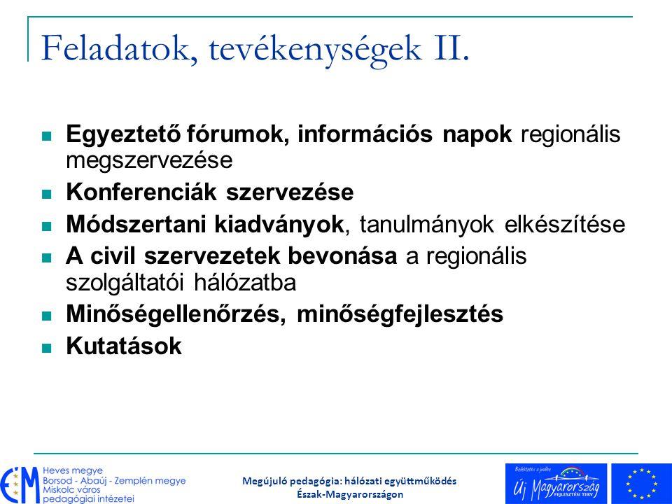 Feladatok, tevékenységek II. Egyeztető fórumok, információs napok regionális megszervezése Konferenciák szervezése Módszertani kiadványok, tanulmányok