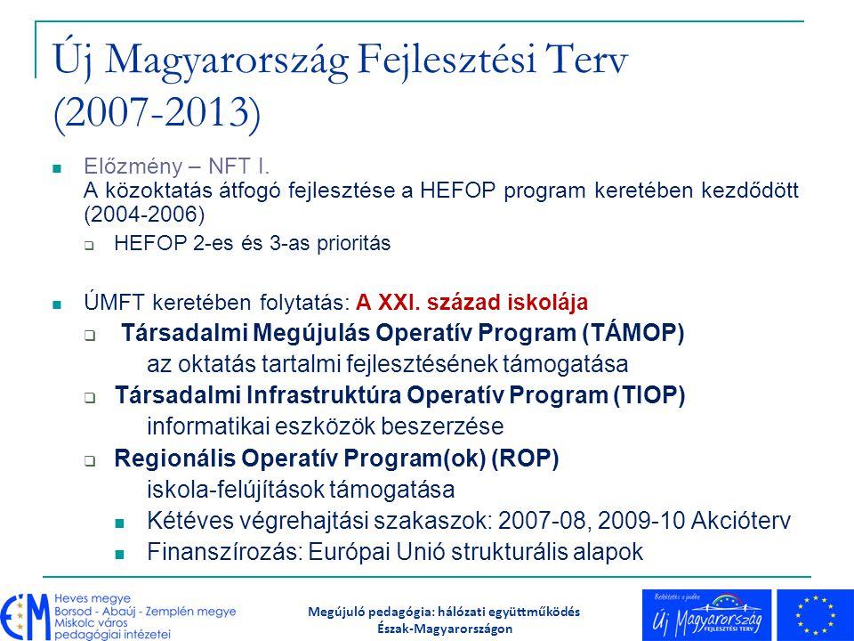 A TÁMOP 3 főbb konstrukciói (közoktatás-fejlesztés): Megújuló pedagógia: hálózati együttműködés Észak-Magyarországon