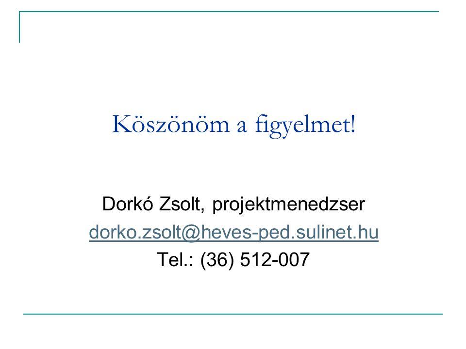Köszönöm a figyelmet! Dorkó Zsolt, projektmenedzser dorko.zsolt@heves-ped.sulinet.hu Tel.: (36) 512-007