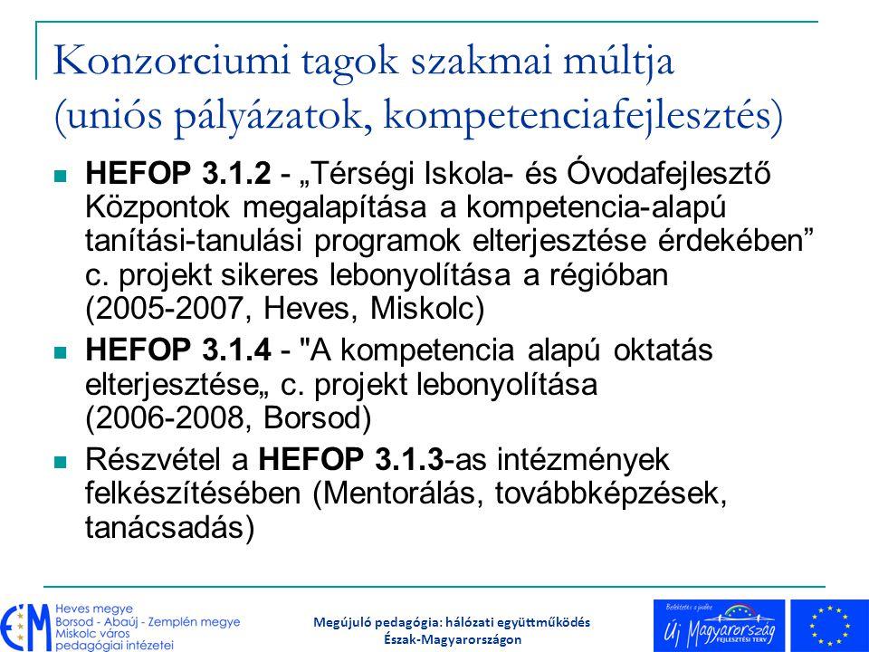 """Konzorciumi tagok szakmai múltja (uniós pályázatok, kompetenciafejlesztés) HEFOP 3.1.2 - """"Térségi Iskola- és Óvodafejlesztő Központok megalapítása a k"""