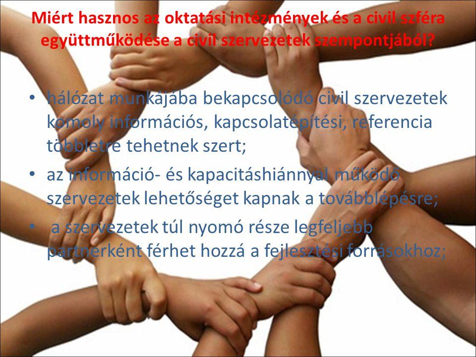 Miért hasznos az oktatási intézmények és a civil szféra együttműködése a civil szervezetek szempontjából.