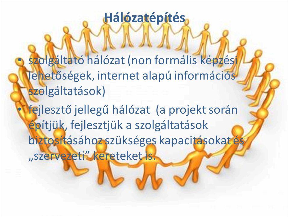 """Hálózatépítés szolgáltató hálózat (non formális képzési lehetőségek, internet alapú információs szolgáltatások) fejlesztő jellegű hálózat (a projekt során építjük, fejlesztjük a szolgáltatások biztosításához szükséges kapacitásokat és """"szervezeti kereteket is."""
