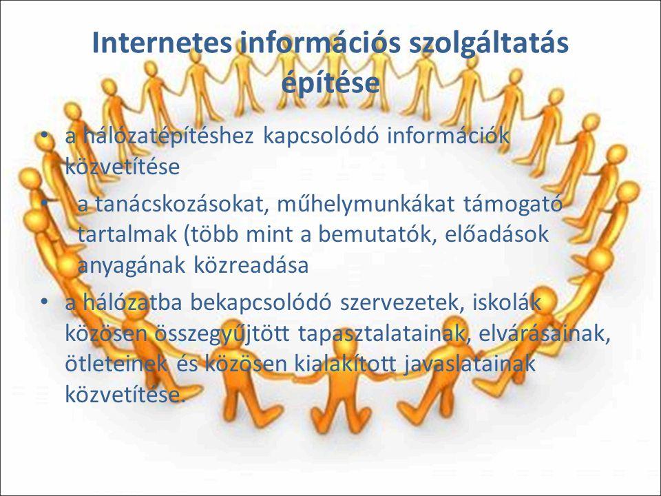 Internetes információs szolgáltatás építése a hálózatépítéshez kapcsolódó információk közvetítése a tanácskozásokat, műhelymunkákat támogató tartalmak (több mint a bemutatók, előadások anyagának közreadása a hálózatba bekapcsolódó szervezetek, iskolák közösen összegyűjtött tapasztalatainak, elvárásainak, ötleteinek és közösen kialakított javaslatainak közvetítése.