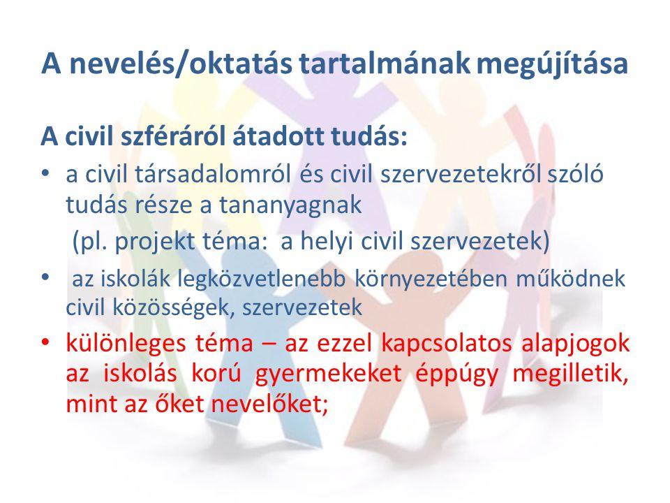 A nevelés/oktatás tartalmának megújítása A civil szféráról átadott tudás: a civil társadalomról és civil szervezetekről szóló tudás része a tananyagnak (pl.