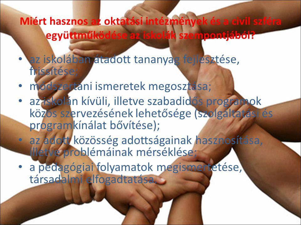 Miért hasznos az oktatási intézmények és a civil szféra együttműködése az iskolák szempontjából.
