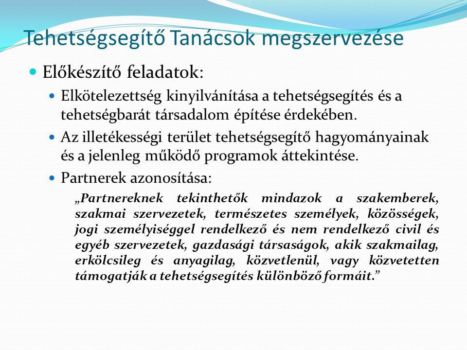 Tehetségsegítő Tanácsok megszervezése Előkészítő feladatok: Elkötelezettség kinyilvánítása a tehetségsegítés és a tehetségbarát társadalom építése érd