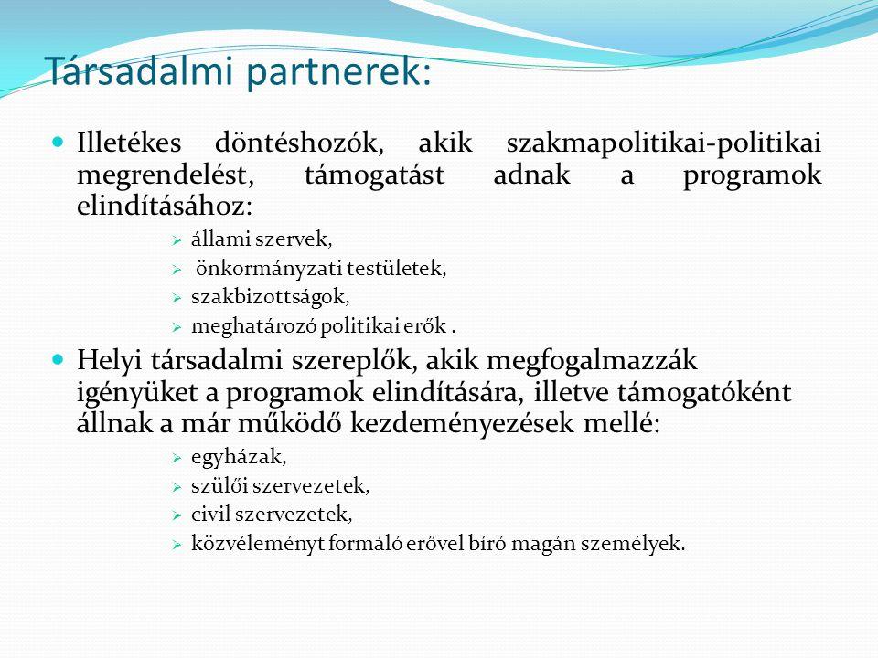 Társadalmi partnerek: Illetékes döntéshozók, akik szakmapolitikai-politikai megrendelést, támogatást adnak a programok elindításához:  állami szervek,  önkormányzati testületek,  szakbizottságok,  meghatározó politikai erők.
