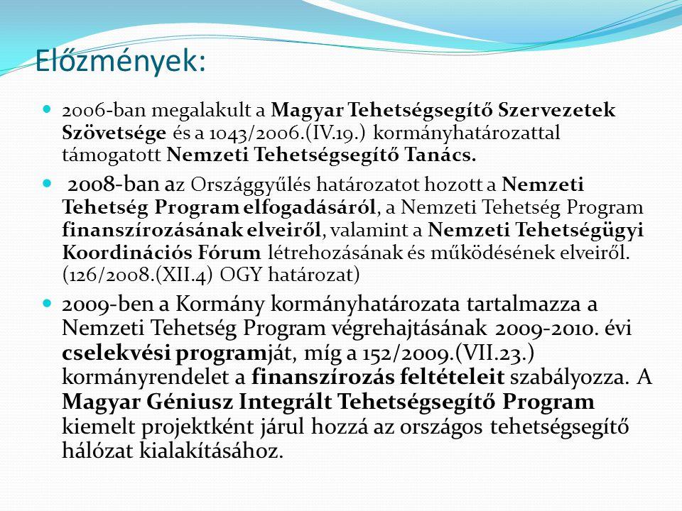 Előzmények: 2006-ban megalakult a Magyar Tehetségsegítő Szervezetek Szövetsége és a 1043/2006.(IV.19.) kormányhatározattal támogatott Nemzeti Tehetségsegítő Tanács.