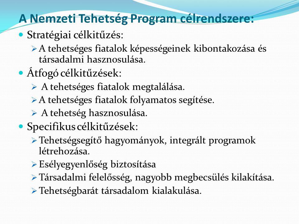 A Nemzeti Tehetség Program célrendszere: Stratégiai célkitűzés:  A tehetséges fiatalok képességeinek kibontakozása és társadalmi hasznosulása.
