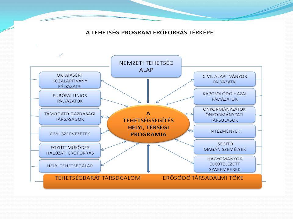Tehetségsegítő Tanácsok fogalma A Tehetségsegítő Tanács olyan helyi, vagy térségi kezdeményezésre létrejött szerveződés, amely a lehető legszélesebb szakmai és társadalmi összefogással segíti:  a tehetségek felkutatását, fejlesztését,  a tehetségesek produktumainak hasznosulását,  és a szükséges erőforrások bővítésének lehetőségeit.