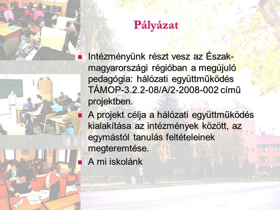 Pályázat Intézményünk részt vesz az Észak- magyarországi régióban a megújuló pedagógia: hálózati együttműködés TÁMOP-3.2.2-08/A/2-2008-002 című projek