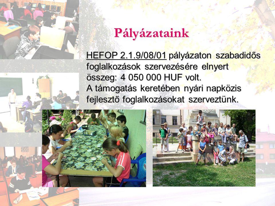 HEFOP 2.1.9/08/01 pályázaton szabadidős foglalkozások szervezésére elnyert összeg: 4 050 000 HUF volt. A támogatás keretében nyári napközis fejlesztő