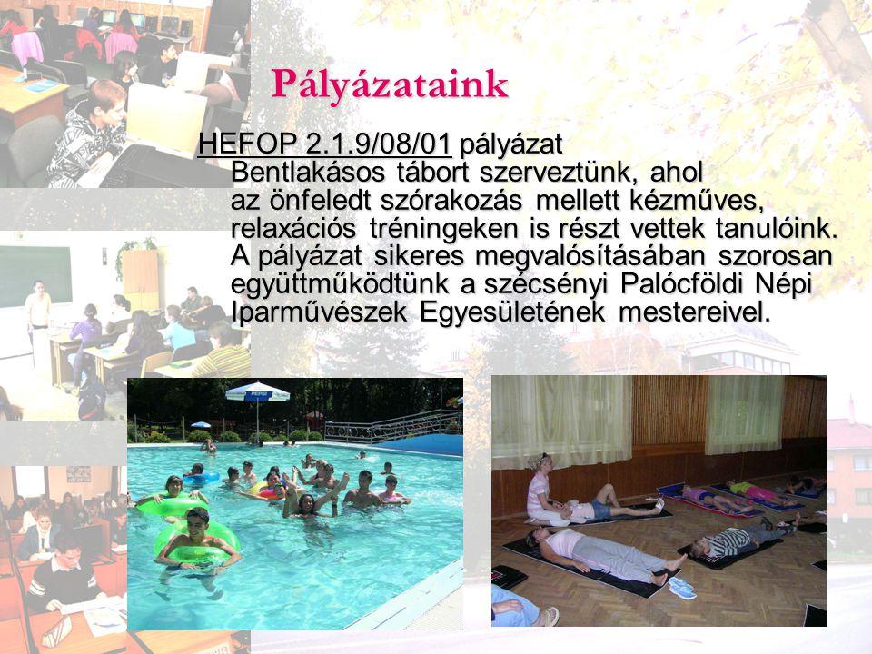 Pályázataink HEFOP 2.1.9/08/01 pályázat Bentlakásos tábort szerveztünk, ahol az önfeledt szórakozás mellett kézműves, relaxációs tréningeken is részt