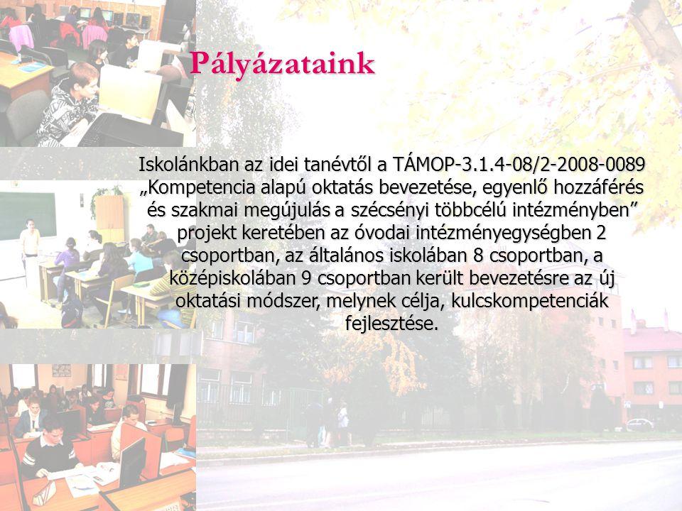 """Pályázataink Iskolánkban az idei tanévtől a TÁMOP-3.1.4-08/2-2008-0089 """"Kompetencia alapú oktatás bevezetése, egyenlő hozzáférés és szakmai megújulás"""