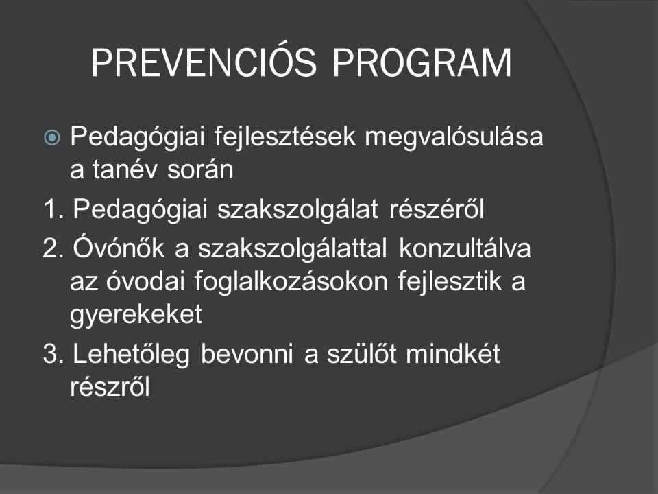 PREVENCIÓS PROGRAM  Pedagógiai fejlesztések megvalósulása a tanév során 1. Pedagógiai szakszolgálat részéről 2. Óvónők a szakszolgálattal konzultálva