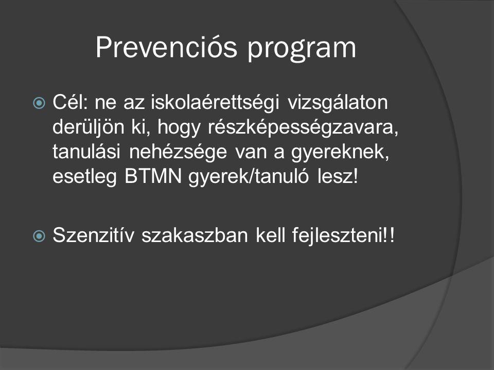 Prevenciós program  Cél: ne az iskolaérettségi vizsgálaton derüljön ki, hogy részképességzavara, tanulási nehézsége van a gyereknek, esetleg BTMN gye