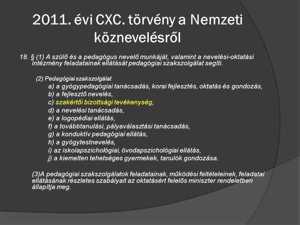 2011. évi CXC. törvény a Nemzeti köznevelésről 18. § (1) A szülő és a pedagógus nevelő munkáját, valamint a nevelési-oktatási intézmény feladatainak e