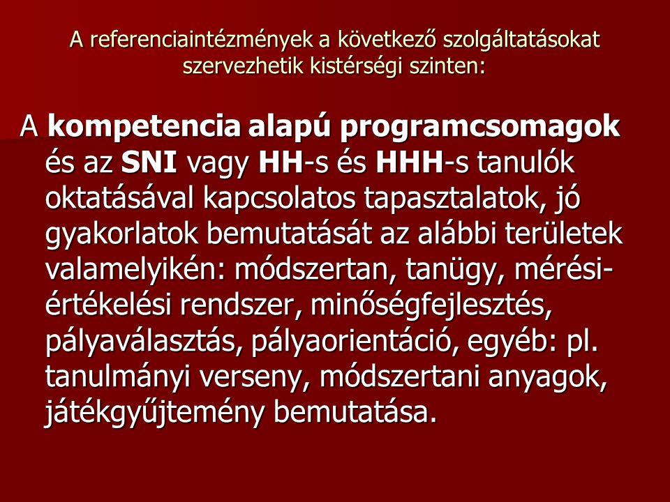 A referenciaintézmények a következő szolgáltatásokat szervezhetik kistérségi szinten: A kompetencia alapú programcsomagok és az SNI vagy HH-s és HHH-s
