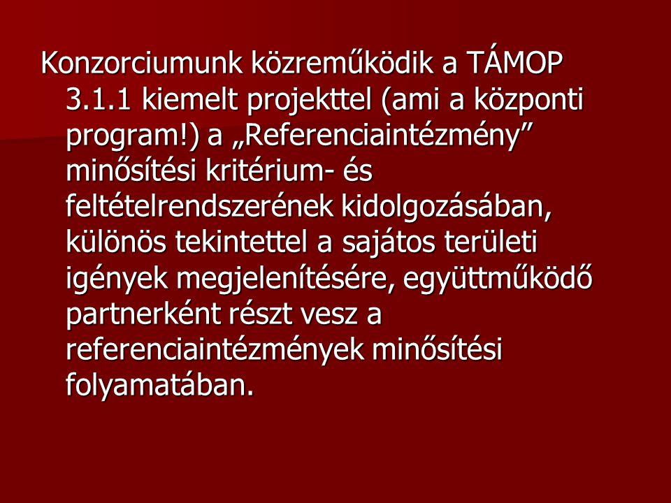 """Konzorciumunk közreműködik a TÁMOP 3.1.1 kiemelt projekttel (ami a központi program!) a """"Referenciaintézmény"""" minősítési kritérium- és feltételrendsze"""