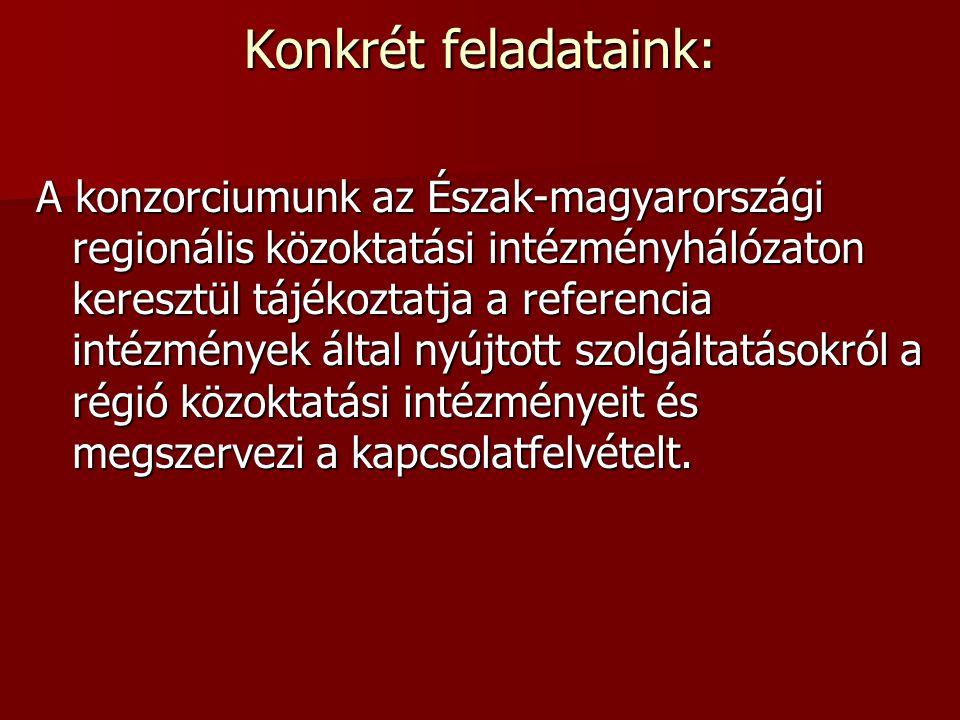 Konkrét feladataink: A konzorciumunk az Észak-magyarországi regionális közoktatási intézményhálózaton keresztül tájékoztatja a referencia intézmények