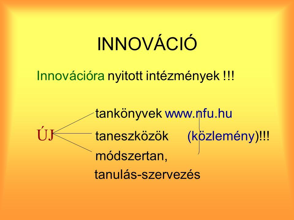 INNOVÁCIÓ Innovációra nyitott intézmények !!. tankönyvek www.nfu.hu ÚJ taneszközök (közlemény)!!.