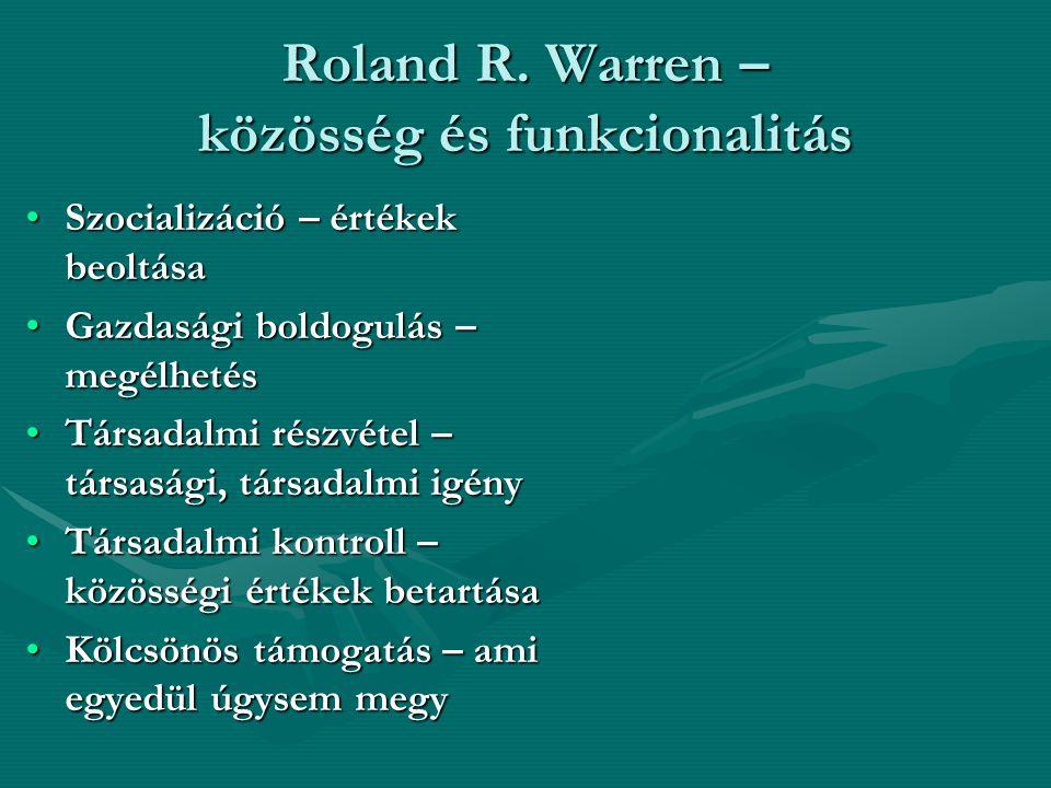 Roland R. Warren – közösség és funkcionalitás Szocializáció – értékek beoltásaSzocializáció – értékek beoltása Gazdasági boldogulás – megélhetésGazdas