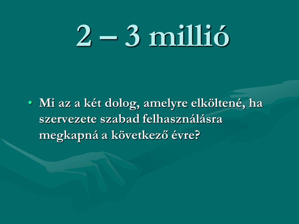 2 – 3 millió Mi az a két dolog, amelyre elköltené, ha szervezete szabad felhasználásra megkapná a következő évre?Mi az a két dolog, amelyre elköltené,
