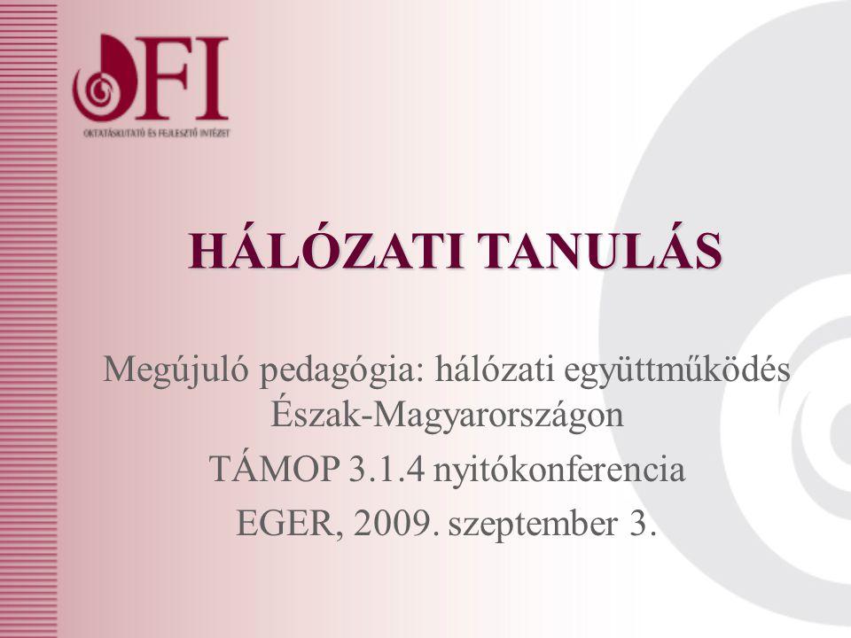 HÁLÓZATI TANULÁS Megújuló pedagógia: hálózati együttműködés Észak-Magyarországon TÁMOP 3.1.4 nyitókonferencia EGER, 2009.