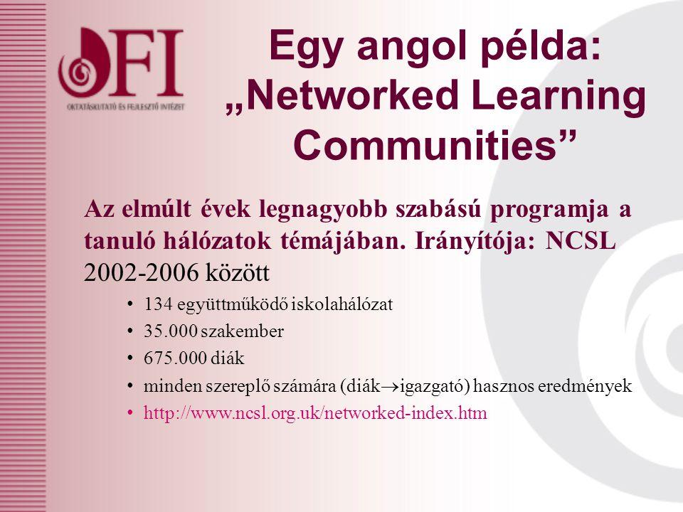 """Egy angol példa: """"Networked Learning Communities Az elmúlt évek legnagyobb szabású programja a tanuló hálózatok témájában."""