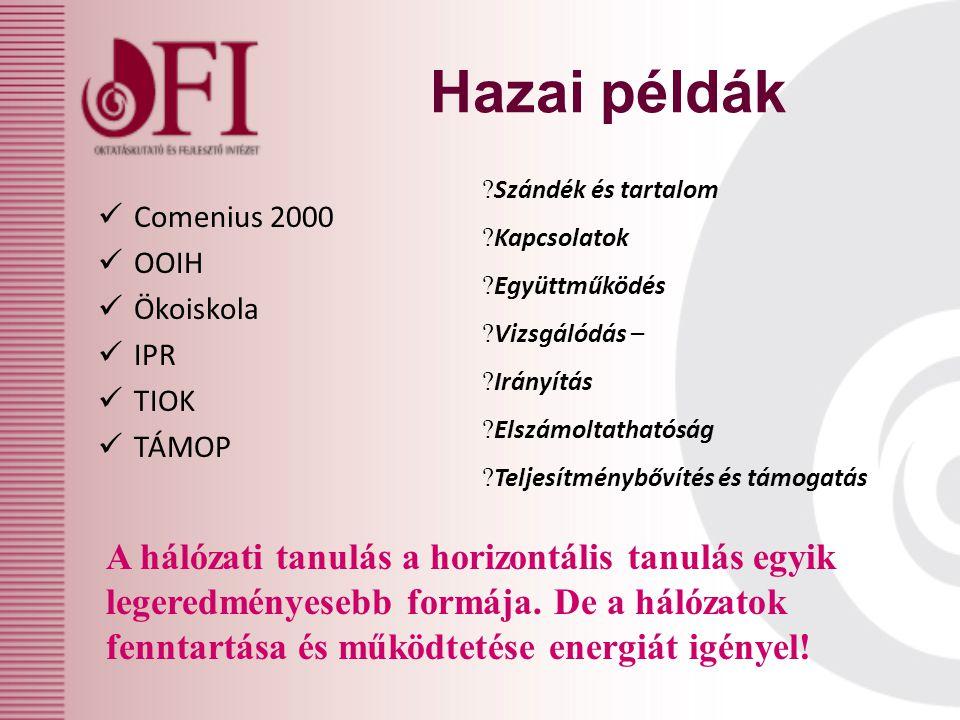 Hazai példák Comenius 2000 OOIH Ökoiskola IPR TIOK TÁMOP A hálózati tanulás a horizontális tanulás egyik legeredményesebb formája.