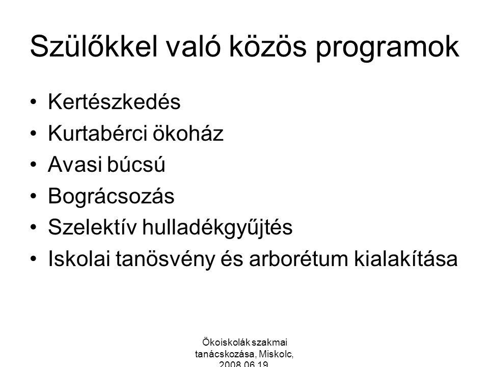 Szülőkkel való közös programok Kertészkedés Kurtabérci ökoház Avasi búcsú Bográcsozás Szelektív hulladékgyűjtés Iskolai tanösvény és arborétum kialakítása