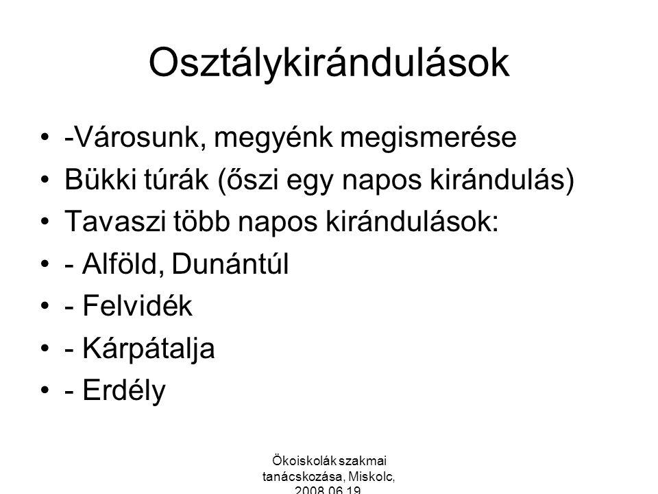 Ökoiskolák szakmai tanácskozása, Miskolc, 2008.06.19.