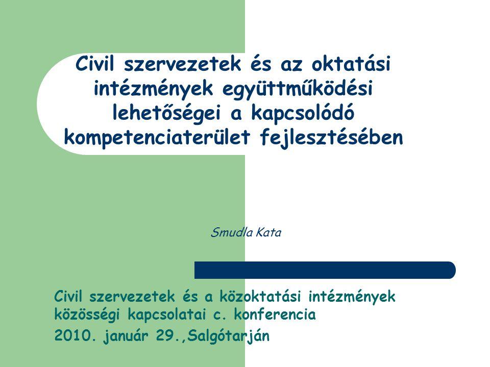 Smudla Kata Civil szervezetek és a közoktatási intézmények közösségi kapcsolatai c.