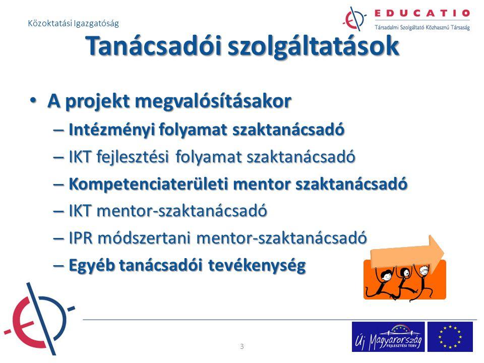Tanácsadói szolgáltatások A projekt megvalósításakor A projekt megvalósításakor – Intézményi folyamat szaktanácsadó – IKT fejlesztési folyamat szaktanácsadó – Kompetenciaterületi mentor szaktanácsadó – IKT mentor-szaktanácsadó – IPR módszertani mentor-szaktanácsadó – Egyéb tanácsadói tevékenység 33 Közoktatási Igazgatóság