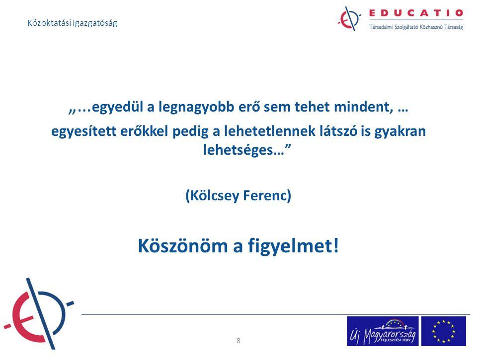 """""""… egyedül a legnagyobb erő sem tehet mindent, … egyesített erőkkel pedig a lehetetlennek látszó is gyakran lehetséges… (Kölcsey Ferenc) Köszönöm a figyelmet."""