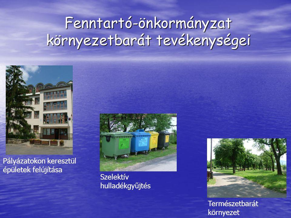 Fenntartó-önkormányzat környezetbarát tevékenységei Pályázatokon keresztül épületek felújítása Szelektív hulladékgyűjtés Természetbarát környezet