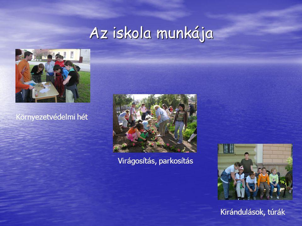 Az iskola munkája Környezetvédelmi hét Kirándulások, túrák Virágosítás, parkosítás