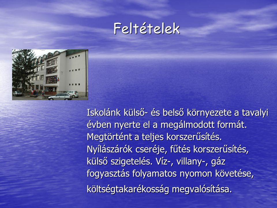 Feltételek Iskolánk külső- és belső környezete a tavalyi évben nyerte el a megálmodott formát.