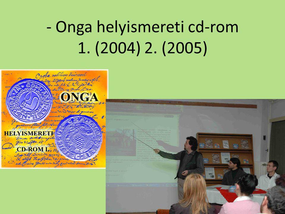 - Onga helyismereti cd-rom 1. (2004) 2. (2005)