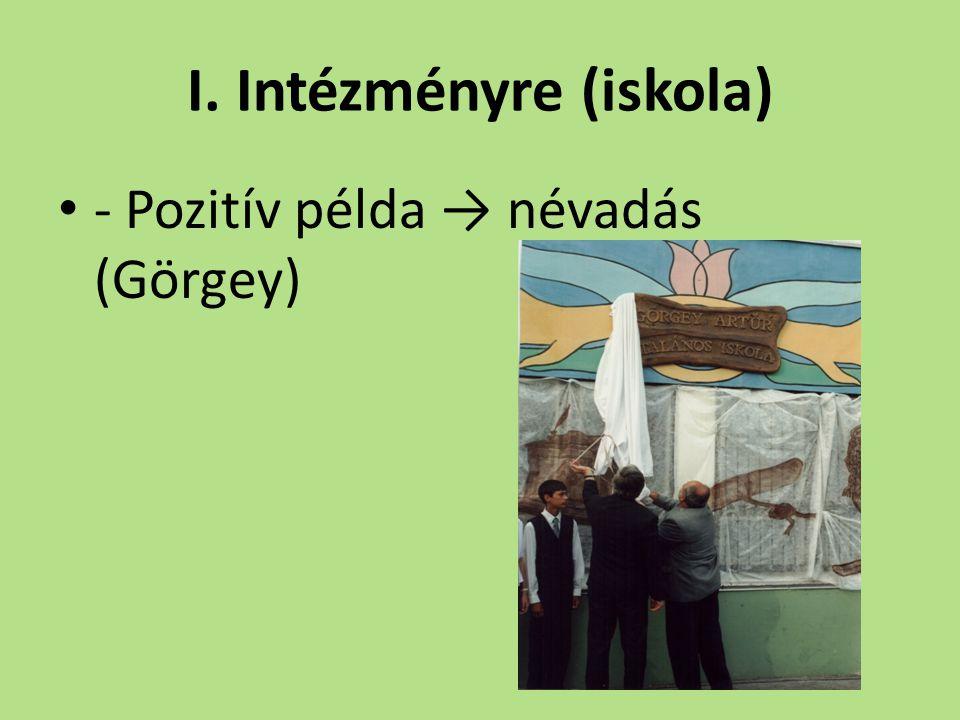 I. Intézményre (iskola) - Pozitív példa → névadás (Görgey)