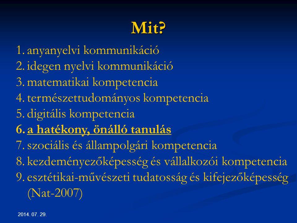 2014. 07. 29. Mit? 1.anyanyelvi kommunikáció 2.idegen nyelvi kommunikáció 3.matematikai kompetencia 4.természettudományos kompetencia 5.digitális komp
