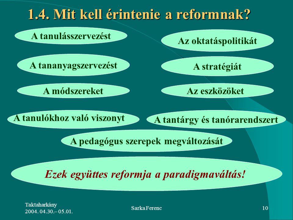 Taktaharkány 2004. 04.30.– 05.01. Sarka Ferenc10 1.4. Mit kell érintenie a reformnak? A tanulásszervezést Az oktatáspolitikát A tananyagszervezést A s