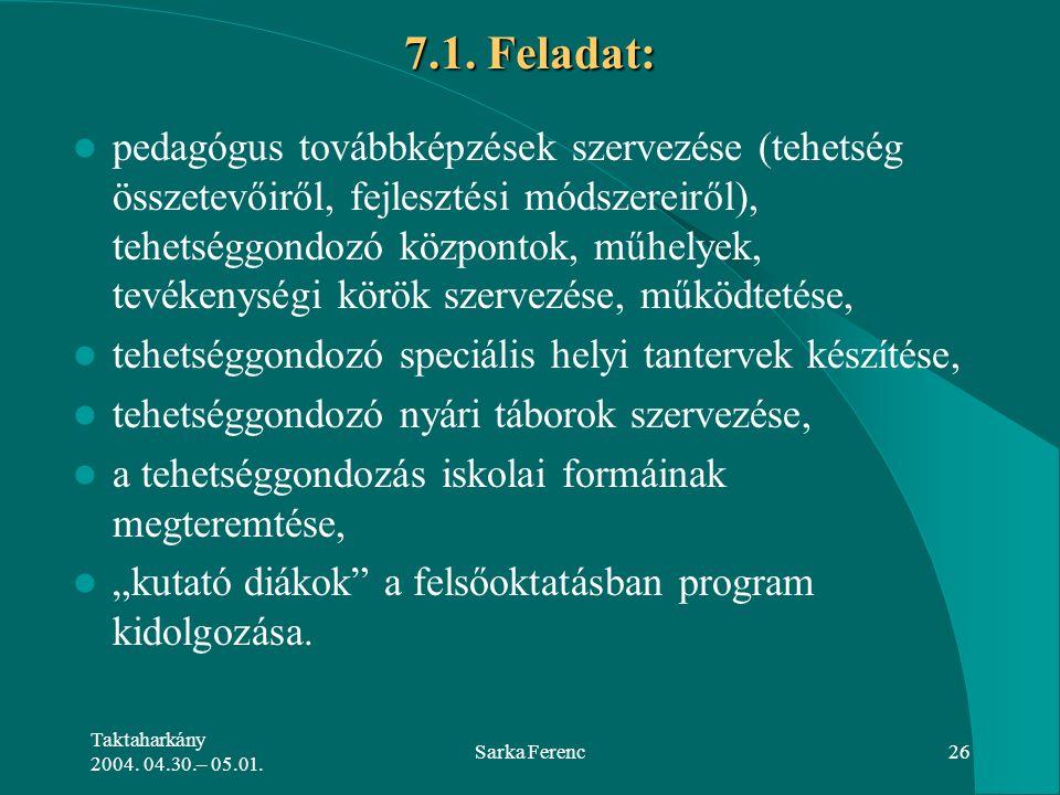 Taktaharkány 2004. 04.30.– 05.01. Sarka Ferenc26 7.1. Feladat: pedagógus továbbképzések szervezése (tehetség összetevőiről, fejlesztési módszereiről),