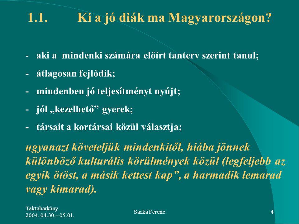 Taktaharkány 2004. 04.30.– 05.01. Sarka Ferenc4 - aki a mindenki számára előírt tanterv szerint tanul; - átlagosan fejlődik; - mindenben jó teljesítmé