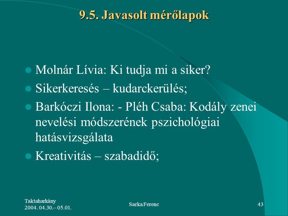 Taktaharkány 2004. 04.30.– 05.01. Sarka Ferenc43 9.5. Javasolt mérőlapok Molnár Lívia: Ki tudja mi a siker? Sikerkeresés – kudarckerülés; Barkóczi Ilo